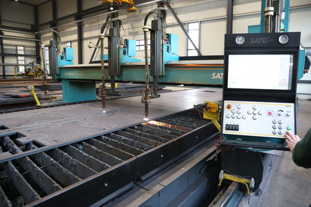 Used steel processing plate cutting line Sato Satronik D 4200